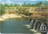 "<span class=""caption-caption"">Red Falls tumbling over the great basalt wall, 84kms north west of Charters Towers</span>, c1970-2000. <br />Postcard, collection of <span class=""caption-contributor"">Murray Views Collection</span>."