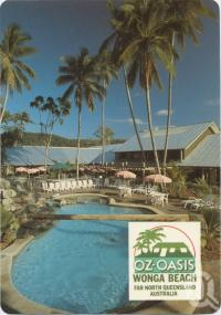 """<span class=""""caption-caption"""">Oz Oasis, Wonga Beach, The Resort and tropical poolside surroundings</span>, c1970-2000. <br />Postcard, collection of <span class=""""caption-contributor"""">Murray Views Collection</span>."""
