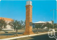"<span class=""caption-caption"">FF Mills Testimonial Clock, Capella Street, Clermont</span>, c1970-2000. <br />Postcard, collection of <span class=""caption-contributor"">Murray Views Collection</span>."