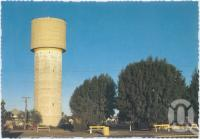 """<span class=""""caption-caption"""">Water Tower, Cunnamulla</span>, c1970-2000. <br />Postcard, collection of <span class=""""caption-contributor"""">Murray Views Collection</span>."""