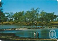 """<span class=""""caption-caption"""">Weir on Warrego River, south of town, Cunnamulla</span>, c1970-2000. <br />Postcard, collection of <span class=""""caption-contributor"""">Murray Views Collection</span>."""