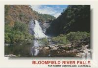 """<span class=""""caption-caption"""">The white waters of the Bloomfield River Falls tumble to the river below, providing a spectacular sight</span>, c1970-2000. <br />Postcard, collection of <span class=""""caption-contributor"""">Murray Views Collection</span>."""