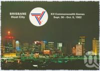 """<span class=""""caption-caption"""">Host City Commonwealth Games 1982, night lights city skyline from South Brisbane</span>, c1970-2000. <br />Postcard, collection of <span class=""""caption-contributor"""">Murray Views Collection</span>."""