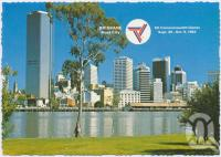 """<span class=""""caption-caption"""">City skyline from the picturesque banks of the Brisbane River, Kangaroo Point, Brisbane, Host City Commonwealth Games 1982,</span>, c1970-2000. <br />Postcard, collection of <span class=""""caption-contributor"""">Murray Views Collection</span>."""