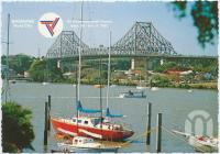 """<span class=""""caption-caption"""">The picturesque Brisbane River from the Botanic Gardens featuring the Story Bridge and Kangaroo Point, Brisbane, Host City Commonwealth Games 1982</span>, c1970-2000. <br />Postcard, collection of <span class=""""caption-contributor"""">Murray Views Collection</span>."""