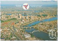 """<span class=""""caption-caption"""">Aerial view of the city featuring the Brisbane River and South-East Freeway, Brisbane, Host City Commonwealth Games 1982</span>, c1970-2000. <br />Postcard, collection of <span class=""""caption-contributor"""">Murray Views Collection</span>."""