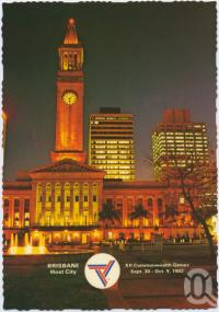"""<span class=""""caption-caption"""">Night lights of King George Square featuring the City Hall, Brisbane, Host City Commonwealth Games 1982</span>, c1970-2000. <br />Postcard, collection of <span class=""""caption-contributor"""">Murray Views Collection</span>."""