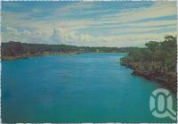 "<span class=""caption-caption"">View from John Oxley Bridge looking downstream Boyne River to Boyne Island</span>, c1970-2000. <br />Postcard, collection of <span class=""caption-contributor"">Murray Views Collection</span>."