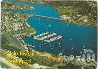 """<span class=""""caption-caption"""">Aerial view showing the Southport Boat Harbour and Broadwater, Main Beach - Southport, Gold Coast</span>, c1970-2000. <br />Postcard, collection of <span class=""""caption-contributor"""">Murray Views Collection</span>."""