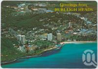 "<span class=""caption-caption"">Aerial view of the surfing beach and shopping centre, Burleigh Heads</span>, c1970-2000. <br />Postcard, collection of <span class=""caption-contributor"">Murray Views Collection</span>."