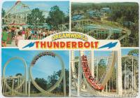 "<span class=""caption-caption"">Thunderbolt Rollercoaster, the longest double looped rollercoaster in the world, Dreamworld, Coomera</span>, c1970-2000. <br />Postcard, collection of <span class=""caption-contributor"">Murray Views Collection</span>."