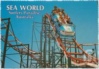 """<span class=""""caption-caption"""">Sea World's exciting, dipping, dodging, high speed Rollercoaster - """"The Wild Wave""""</span>, c1970-2000. <br />Postcard, collection of <span class=""""caption-contributor"""">Murray Views Collection</span>."""