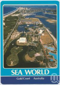 """<span class=""""caption-caption"""">An aerial of Sea World, looking south to the highrise of Surfers Paradise</span>, c1970-2000. <br />Postcard, collection of <span class=""""caption-contributor"""">Murray Views Collection</span>."""