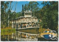 "<span class=""caption-caption"">The Captain Sturt's image is mirrored in the tranquil Murrisippi River, Dreamworld, Coomera</span>, c1970-2000. <br />Postcard, collection of <span class=""caption-contributor"">Murray Views Collection</span>."