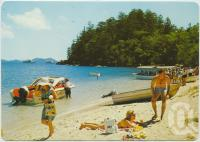 """<span class=""""caption-caption"""">The beach and glass-bottom boats, Hook Island Underwater Observatory</span>, c1970-2000. <br />Postcard, collection of <span class=""""caption-contributor"""">Murray Views Collection</span>."""