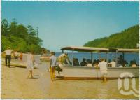 """<span class=""""caption-caption"""">The beach and glass bottom boats looking through Hook Passage, Hook Island  Underwater Observatory</span>, c1970-2000. <br />Postcard, collection of <span class=""""caption-contributor"""">Murray Views Collection</span>."""