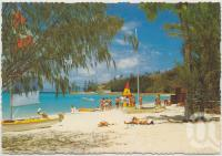 """<span class=""""caption-caption"""">The front beach and Blue Lagoon looking towards the Helipad and Jetty, Royal Hayman Hotel</span>, c1970-2000. <br />Postcard, collection of <span class=""""caption-contributor"""">Murray Views Collection</span>."""