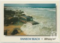 "<span class=""caption-caption"">Rainbow Beach, gateway to Fraser Island, a lesson for all - time and tide waits for no man or woman</span>, c1970-2000. <br />Postcard, collection of <span class=""caption-contributor"">Murray Views Collection</span>."