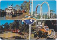 "<span class=""caption-caption"">Thunderbolt Rollercoaster, Captain Sturt, Cannonball Express, Vintage Car Rides, Dreamworld, Coomera</span>, c1970-2000. <br />Postcard, collection of <span class=""caption-contributor"">Murray Views Collection</span>."