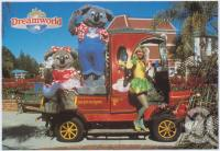 "<span class=""caption-caption"">Kenny Koala, Belinda and Coo-ee The Gumnut Fairy aboard Kenny's Cab at Dreamworld</span>, c1970-2000. <br />Postcard, collection of <span class=""caption-contributor"">Murray Views Collection</span>."