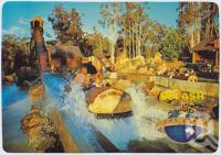 "<span class=""caption-caption"">Rocky Hollow Log Ride, down the hill at 80km per hour, Dreamworld, Coomera</span>, c1970-2000. <br />Postcard, collection of <span class=""caption-contributor"">Murray Views Collection</span>."