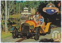 "<span class=""caption-caption"">All ages enjoy riding the ""Vintage"" cars down memory lane, Captain Sturt rounds the bend in the background, Dreamworld, Coomera</span>, c1970-2000. <br />Postcard, collection of <span class=""caption-contributor"">Murray Views Collection</span>."