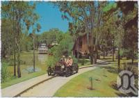 "<span class=""caption-caption"">Riding the Vintage Cars on the  Model T Lake with the Captain Sturt in Paddle Wheeler in the background, Dreamworld, Coomera</span>, c1970-2000. <br />Postcard, collection of <span class=""caption-contributor"">Murray Views Collection</span>."