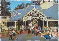 "<span class=""caption-caption"">Main entry to the fabulous Plaza Restaurant which opens on to an open courtyard and bandstand, Dreamworld, Coomera</span>, c1970-2000. <br />Postcard, collection of <span class=""caption-contributor"">Murray Views Collection</span>."