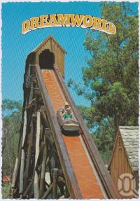"<span class=""caption-caption"">The Rocky Hollow Log Ride, Dreamworld, Coomera</span>, c1970-2000. <br />Postcard, collection of <span class=""caption-contributor"">Murray Views Collection</span>."