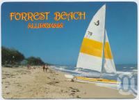 """<span class=""""caption-caption"""">Patrolled, popular swimming, fishing and sailing beach near Ingham, Forrest Beach, Allingham</span>, c1970-2000. <br />Postcard, collection of <span class=""""caption-contributor"""">Murray Views Collection</span>."""