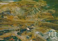 "<span class=""caption-caption"">Aerial view showing the gold and copper mine, Mount Morgan</span>, c1974. <br />Postcard by <span class=""caption-publisher"">Murray Views Pty Ltd</span>, collection of <span class=""caption-contributor"">Centre for the Government of Queensland</span>."