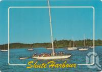 """<span class=""""caption-caption"""">Yacht 'Gretel', Whitsunday coast, Shute Harbour</span>, 1986. <br />Postcard by <span class=""""caption-publisher"""">Murray Views Pty Ltd</span>, collection of <span class=""""caption-contributor"""">Centre for the Government of Queensland</span>."""