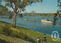 """<span class=""""caption-caption"""">Story Bridge from Gardens Reach, Brisbane River</span>, c1970. <br />Postcard by <span class=""""caption-publisher"""">Murray Views Pty Ltd</span>, collection of <span class=""""caption-contributor"""">Centre for the Government of Queensland</span>."""