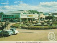 """<span class=""""caption-caption"""">Memorial Park and Hinchinbrook Shire Hall</span>, c1966. <br />Postcard folder by <span class=""""caption-publisher"""">GK Bolton</span>, collection of <span class=""""caption-contributor"""">Centre for the Government of Queensland MS</span>."""