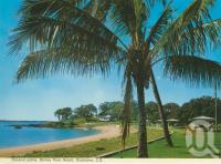"<span class=""caption-caption"">Coconut palms, Barney Point Beach, Gladstone</span>, c1975. <br />Postcard folder by <span class=""caption-publisher"">Murray Views Pty Ltd</span>, collection of <span class=""caption-contributor"">Centre for the Government of Queensland</span>."