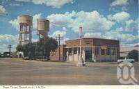 "<span class=""caption-caption"">Water Tower, Goondiwindi</span>, 1966. <br />Postcard folder by <span class=""caption-publisher"">Murray Views Pty Ltd</span>, collection of <span class=""caption-contributor"">Centre for the Government of Queensland</span>."