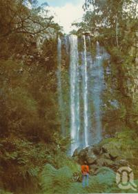 "<span class=""caption-caption"">Queens Mary Falls from lower track, Killarney</span>, 1984. <br />Postcard folder by <span class=""caption-publisher"">Murray Views Pty Ltd</span>, collection of <span class=""caption-contributor"">Centre for the Government of Queensland</span>."