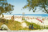 "<span class=""caption-caption"">Main beach, Maroochydore</span>, c1970. <br />Postcard folder by <span class=""caption-publisher"">Bernard Kuskoff</span>, collection of <span class=""caption-contributor"">Centre for the Government of Queensland</span>."