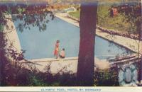 "<span class=""caption-caption"">Olympic pool, Hotel St Bernard, Tamborine Mountain</span>, c1938. <br />Postcard folder by <span class=""caption-publisher"">Brisbane Postcards</span>, collection of <span class=""caption-contributor"">Centre for the Government of Queensland</span>."
