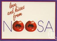 "<span class=""caption-caption"">Love & kisses from Noosa</span>, 1990. <br />Postcard by <span class=""caption-publisher"">Wren</span>, collection of <span class=""caption-contributor"">Centre for the Government of Queensland</span>."