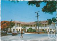 "<span class=""caption-caption"">The Royal Mail Hotel showing the springtime bloom of the Poinciana Trees, Tewantin</span>, c1970-2000. <br />Postcard, collection of <span class=""caption-contributor"">Murray Views Collection</span>."