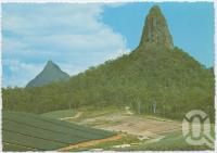 "<span class=""caption-caption"">Glasshouse Mountains</span>, c1970-2000. <br />Postcard, collection of <span class=""caption-contributor"">Murray Views Collection</span>."