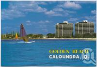 """<span class=""""caption-caption"""">Sailboarding, Golden Beach with Gemini Resort in background</span>, c1970-2000. <br />Postcard, collection of <span class=""""caption-contributor"""">Murray Views Collection</span>."""