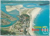 "<span class=""caption-caption"">Aerial view featuring Hastings Street Shopping Centre, Noosa Woods Camping Reserve and Laguna Bay looking towards the mouth of the Noosa River</span>, c1970-2000. <br />Postcard, collection of <span class=""caption-contributor"">Murray Views Collection</span>."