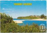 "<span class=""caption-caption"">Tooway Lagoon looking toward Moffat Beach</span>, c1970-2000. <br />Postcard, collection of <span class=""caption-contributor"">Murray Views Collection</span>."