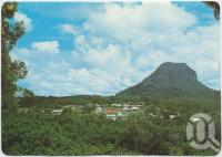 "<span class=""caption-caption"">Pomona with Mt Cooroora, elevation 439 metres (1439 ft)</span>, c1970-2000. <br />Postcard, collection of <span class=""caption-contributor"">Murray Views Collection</span>."