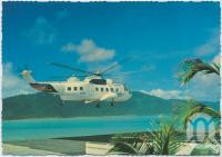 """<span class=""""caption-caption"""">One of the Sikorsky Helicopters approaching the Helipad on a regular daily flight, Hayman Island</span>, c1970-2000. <br />Postcard, collection of <span class=""""caption-contributor"""">Murray Views Collection</span>."""