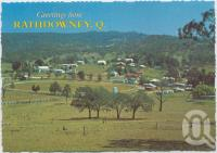 """<span class=""""caption-caption"""">Overlooking the township, Rathdowney</span>, c1970-2000. <br />Postcard, collection of <span class=""""caption-contributor"""">Murray Views Collection</span>."""