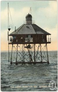 "<span class=""caption-caption"">Pile light, Moreton Bay</span>, 1912. <br />Postcard, collection of <span class=""caption-contributor"">Fryer Library, UQ</span>."